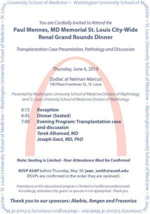 Paul Mennes Memorial City-Wide Renal Grand Rounds Dinner – June 6