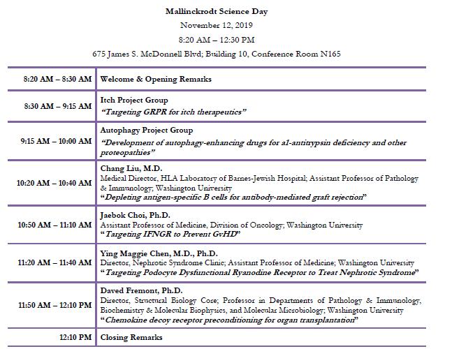 Agenda for Mallinckrodt Science Day speakers
