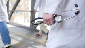 Doctors walking in hallway