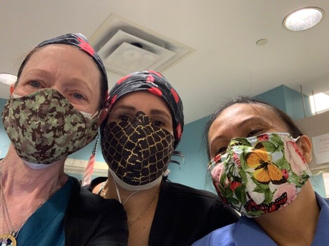 Healthcare staff at Forest Park Dialysis Center wearing DIY masks